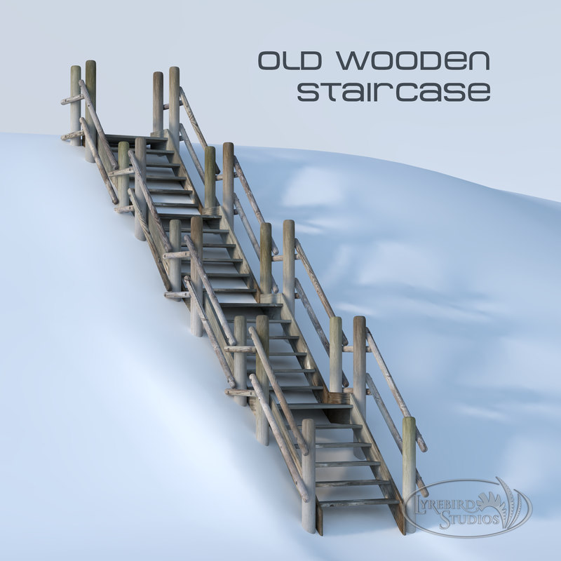 wooden staircase 3D model
