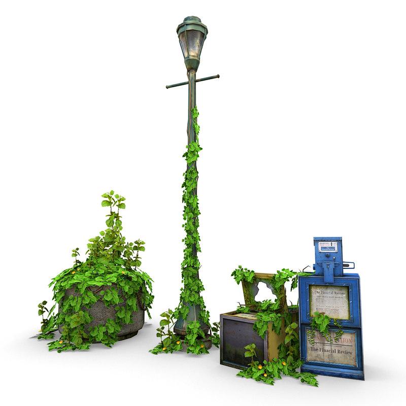 3D overgrown street elements model