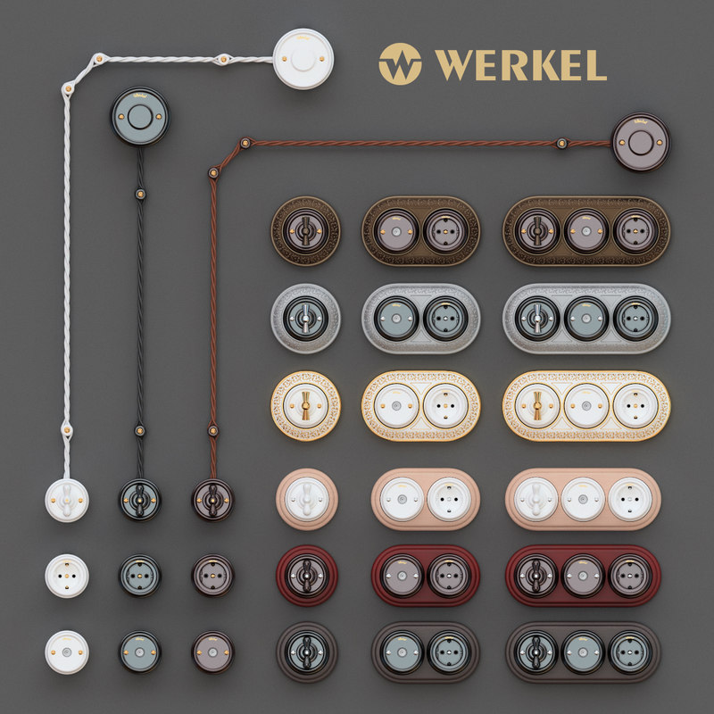 ceramic retro switch socket 3D model