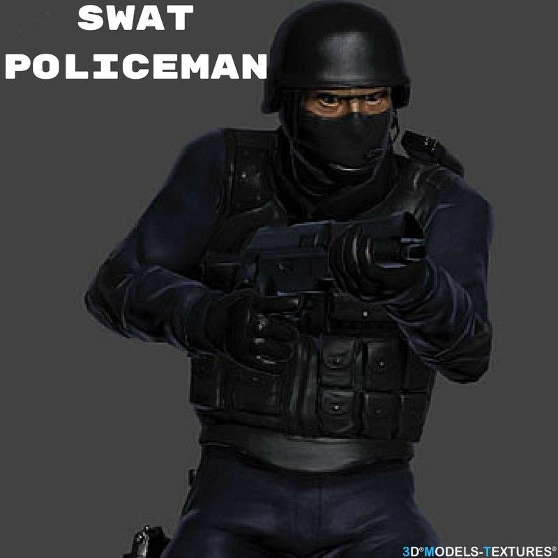 3D model swat policeman man