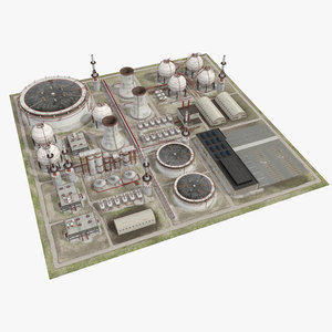 3D oil refinery industrial factory