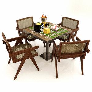 outdoor dining set chair 3D model