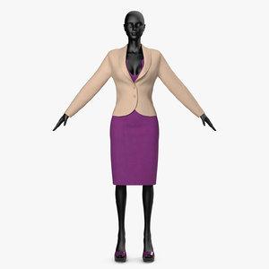dress lilac jacket 3D model