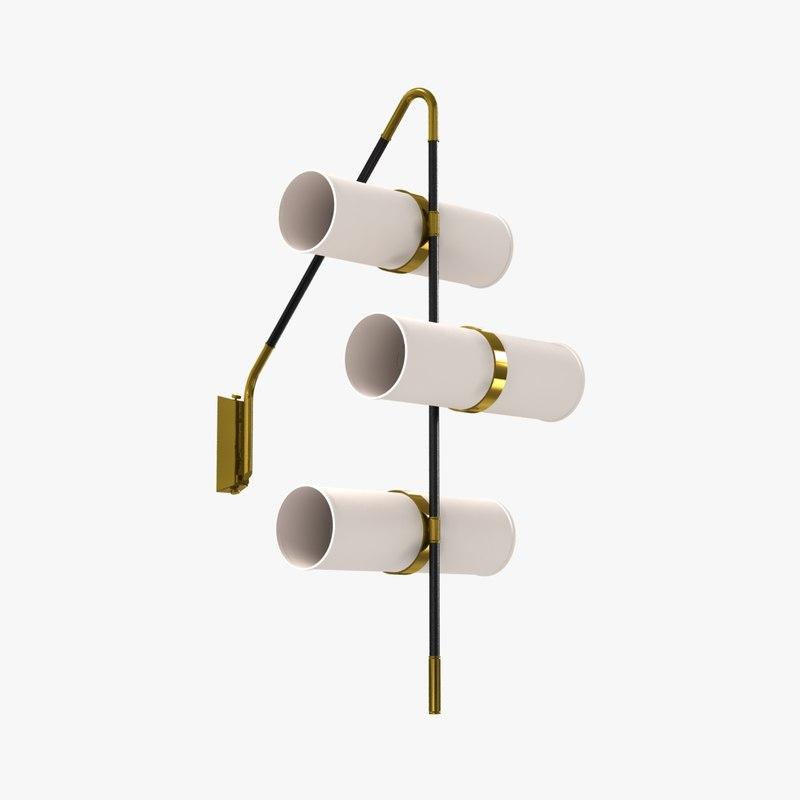 wall light brass enameled 3D model