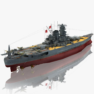 ijn musashi japanese battleship 3D model