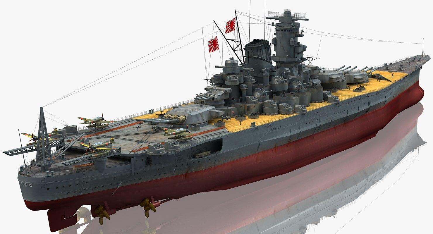ijn musashi japanese battleship 3d model turbosquid 1211797
