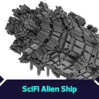 3D model giant scifi ship