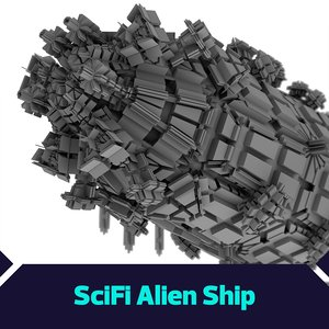 3D model giant scifi ship
