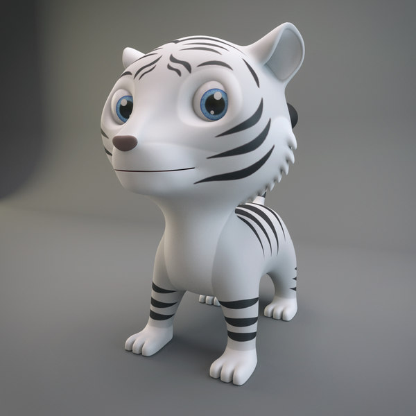 3D cartoon white tiger