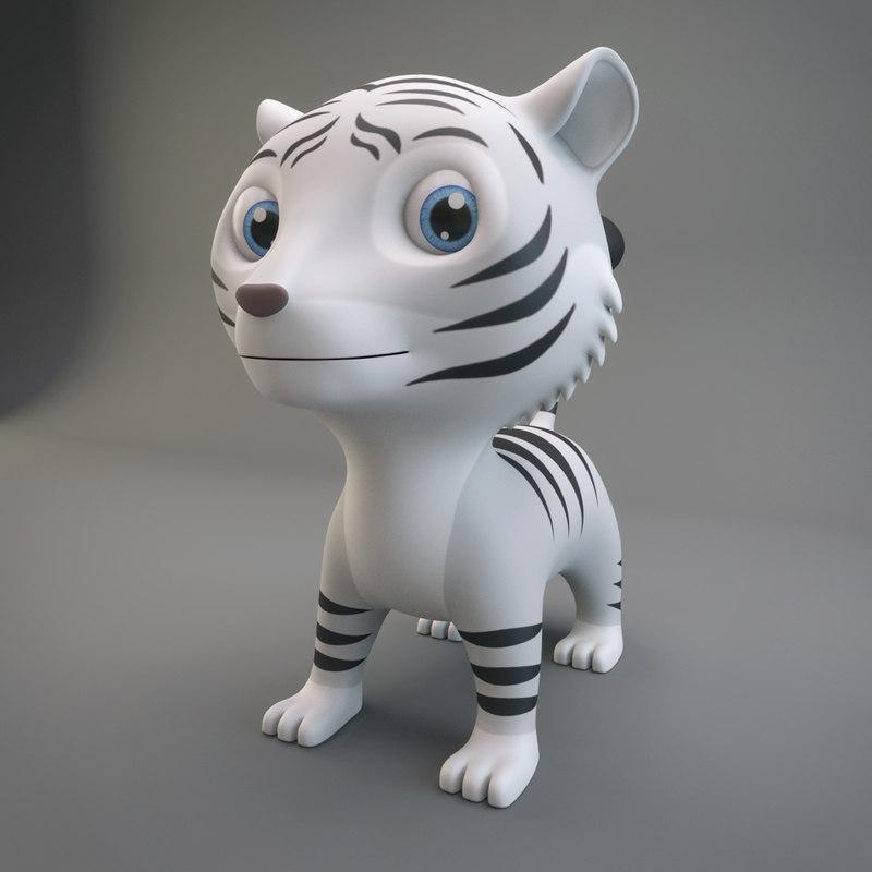 3D cartoon white tiger