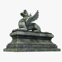 3D gothic statue 01 model