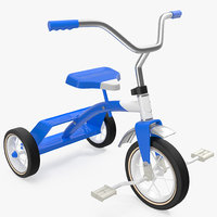 3D classic blue tricycle generic model