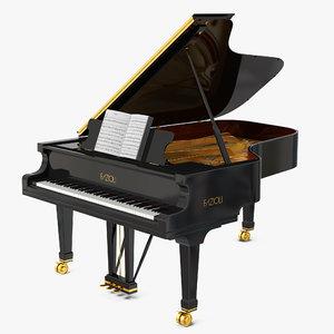 grand piano fazioli music notes 3D model