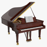Grand Piano with Music Notes Book