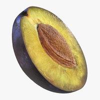 3D model half blue plum seed