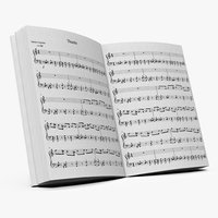 music notes book 3D