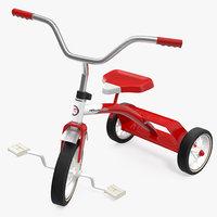 vintage red trike rigged 3D