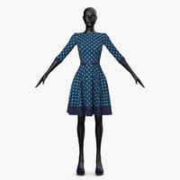 3D dress blue peas model