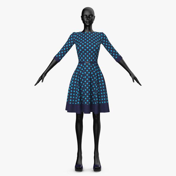 3D dress blue peas model