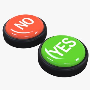 3D buzzer buttons yes-no model