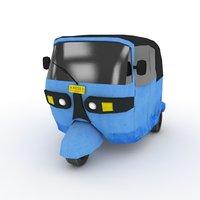 3D model blue wheeler