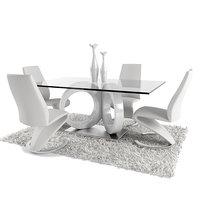 3D dining room set white