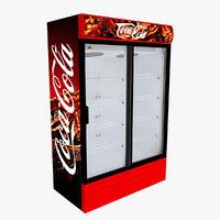 coca-cola fridge sliding doors 3D