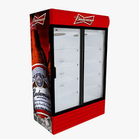 budweiser fridge sliding doors model