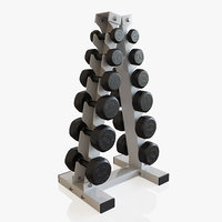 3D dumbbells vertical rack model