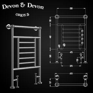 3D model heated towel rails devon