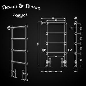 3D heated towel rails devon model