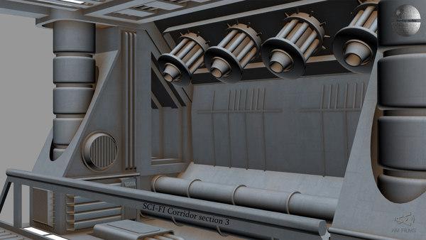 3D sci-fi corridor section 3