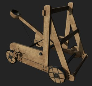 rusted wooden catapult 3D model