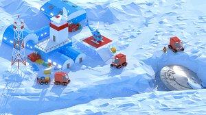 3D model antarctic station