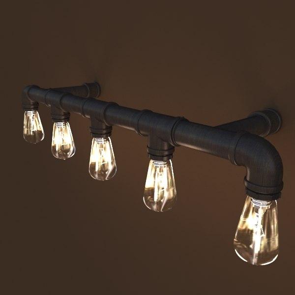 3D pipe light fixture