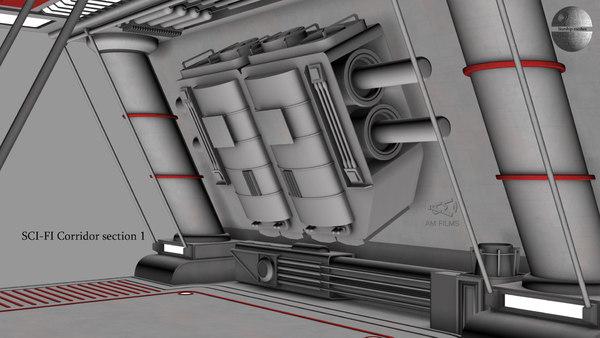 sci-fi corridor section 1 model