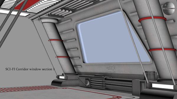 3D sci-fi corridor window section