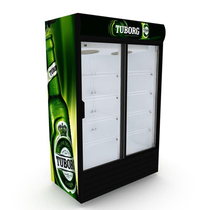 3D tuborg fridge sliding doors