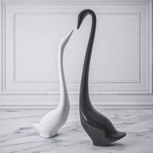 3D figurine swans model
