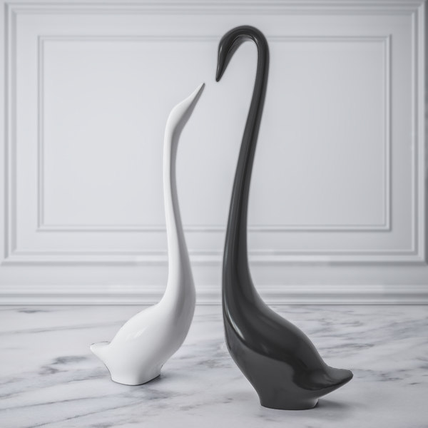 3D figurine swans model