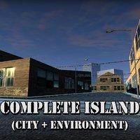 3D model city island