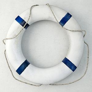 3D blue white life preserver