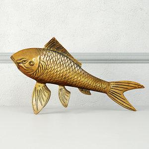 3D midcentury solid brass koi fish model