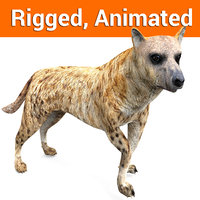 hyena rigged, animated 3D Models game ready low poly model
