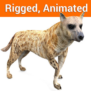 3D hyena rigged ready animation