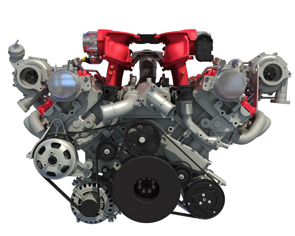 turbocharged v8 engine 3D model