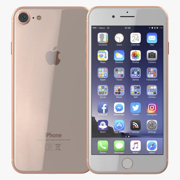 3D model iphone 8 gold