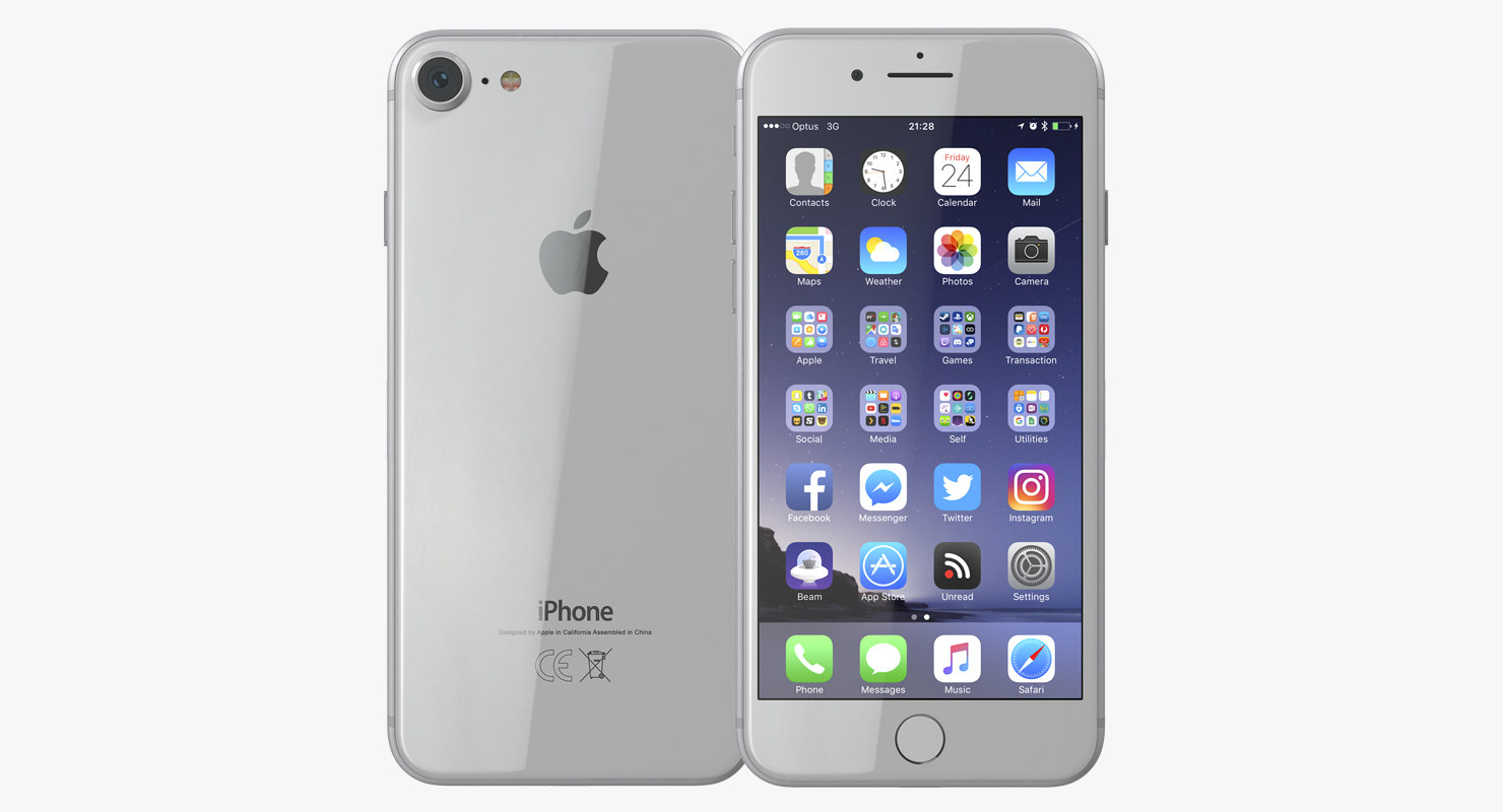 3D iphone 8 silver model