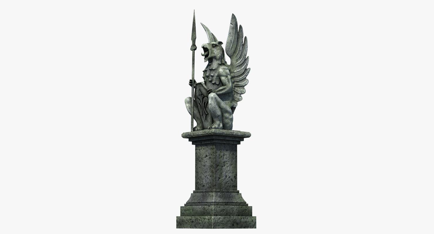 3D gothic statue 04