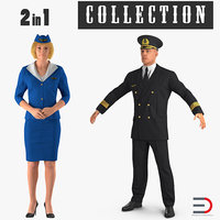 3D airline pilot stewardess model